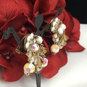 Vintage Jewelry - Vintage Amber Topaz, AB Milk Glass Dangle Earrings